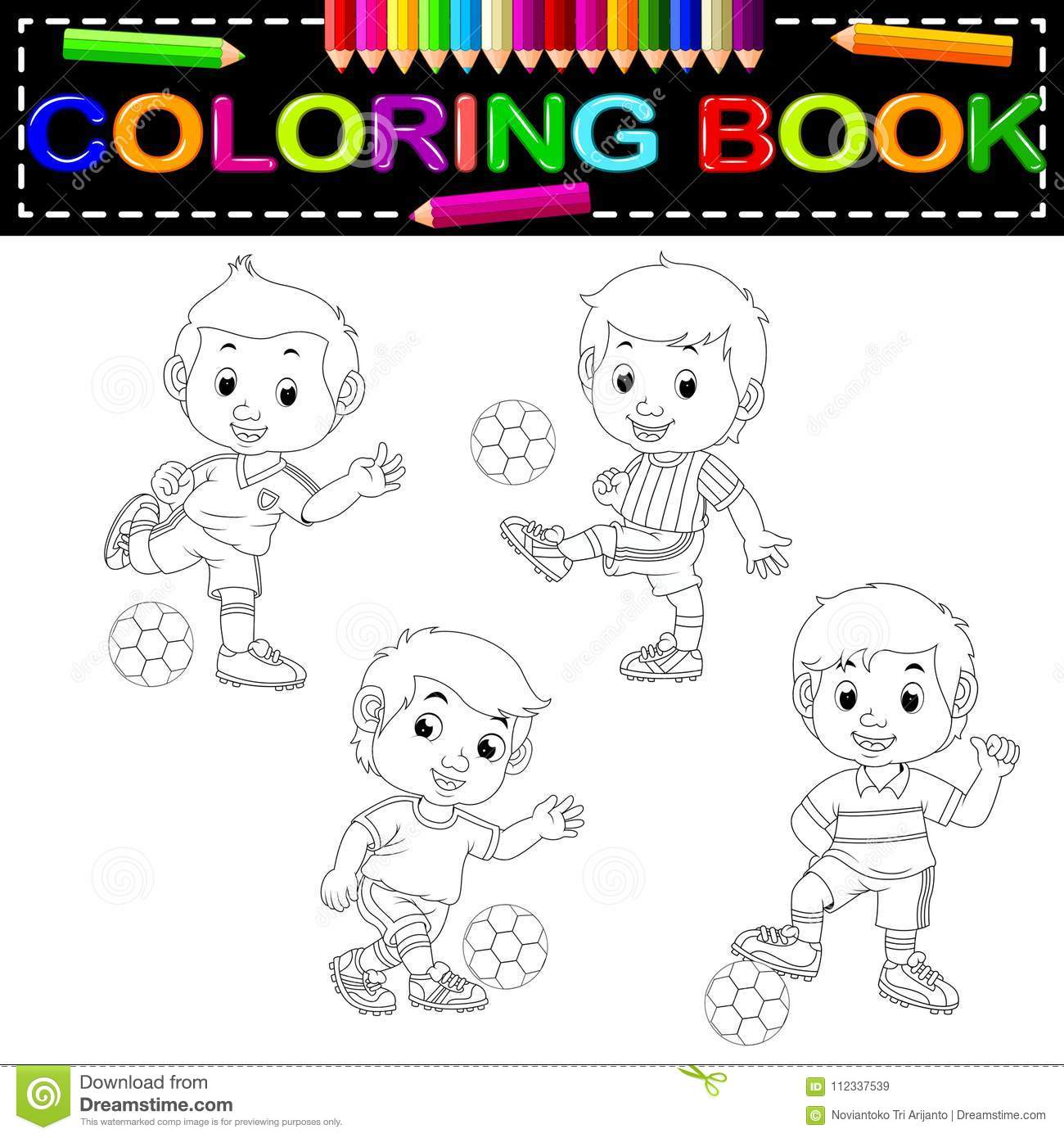 Soccer coloring book stock vector. Illustration of play - 112337539