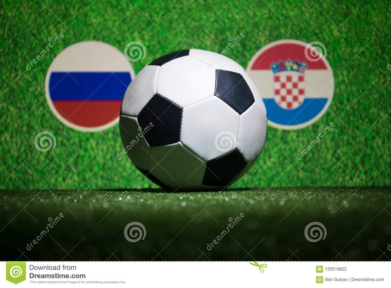 Soccer 2018. Creative concept. Soccer ball on green grass. Support your country or cheer concept.