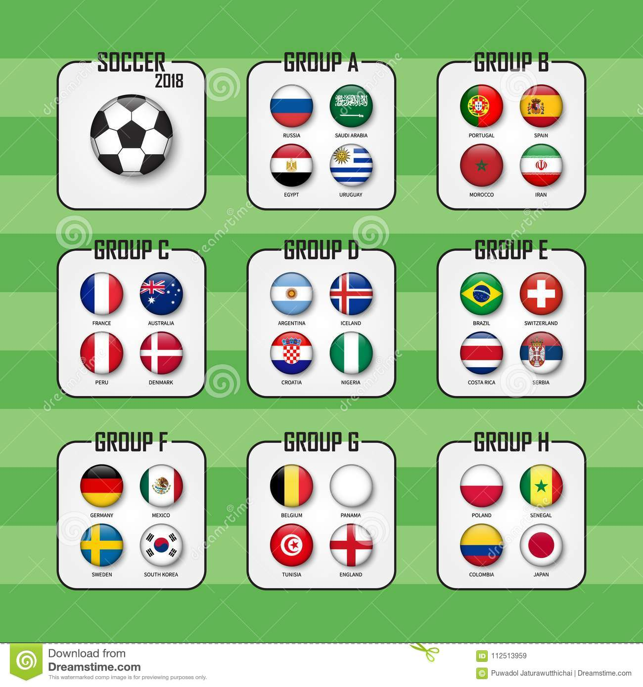 Soccer cup 2018 . Set of national flags team group A - H . Circle design .  Vector for international world championship tournament . f1cc99a51