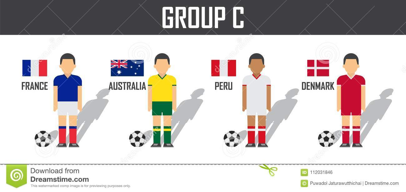 3989a265b Soccer cup 2018 team group C . Football players with jersey uniform and national  flags .