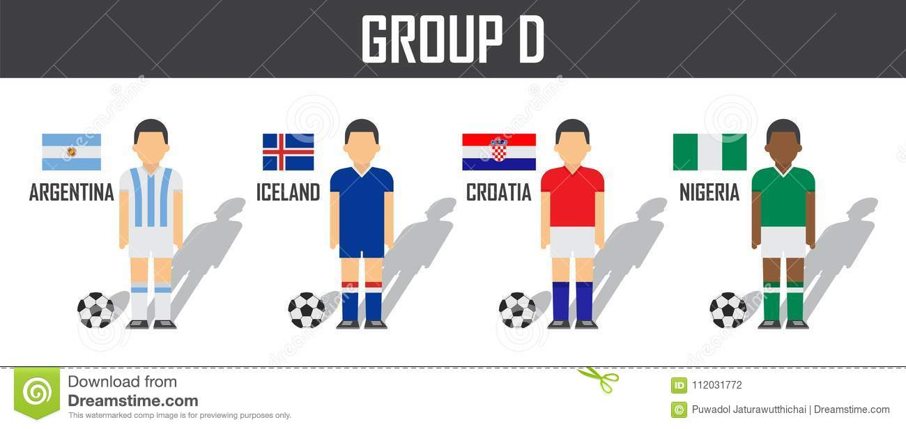 Soccer cup 2018 team group D . Football players with jersey uniform and national  flags . Vector for international world championship tournament . c1c8a4e95