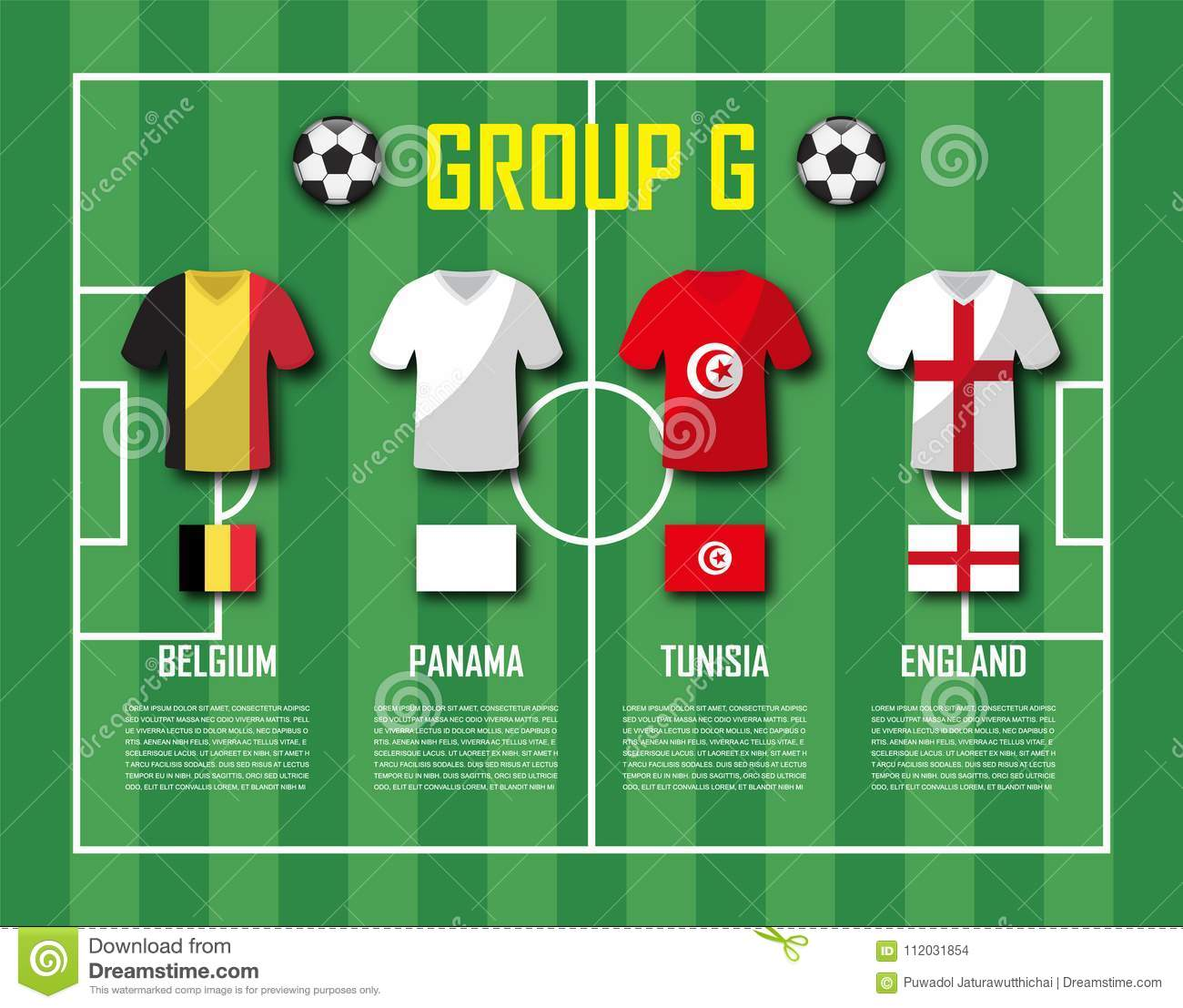 Soccer cup 2018 team group G . Football players with jersey uniform and  national flags . Vector for international world championship tournament . d1c89b8e7