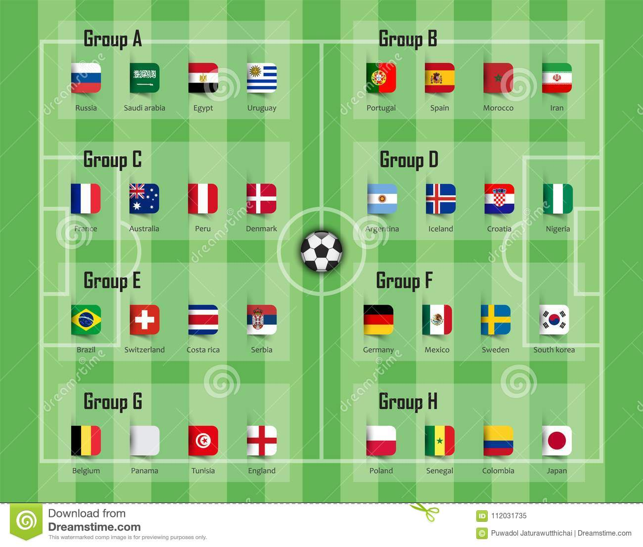 Soccer cup 2018 team group and national flags . Vector for international  world championship tournament 1dca6c04d