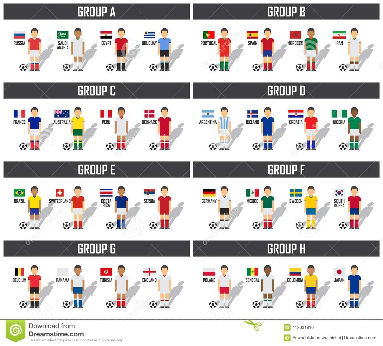 Soccer cup 2018 team group set . Football players with jersey uniform and national  flags . Vector for international world championship tournament . b1e1e9344