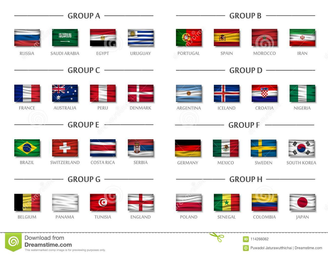 Soccer cup team group set . Realistic wavy national flags . Vector for international  world championship tournament 2018 . 03b5b7f99