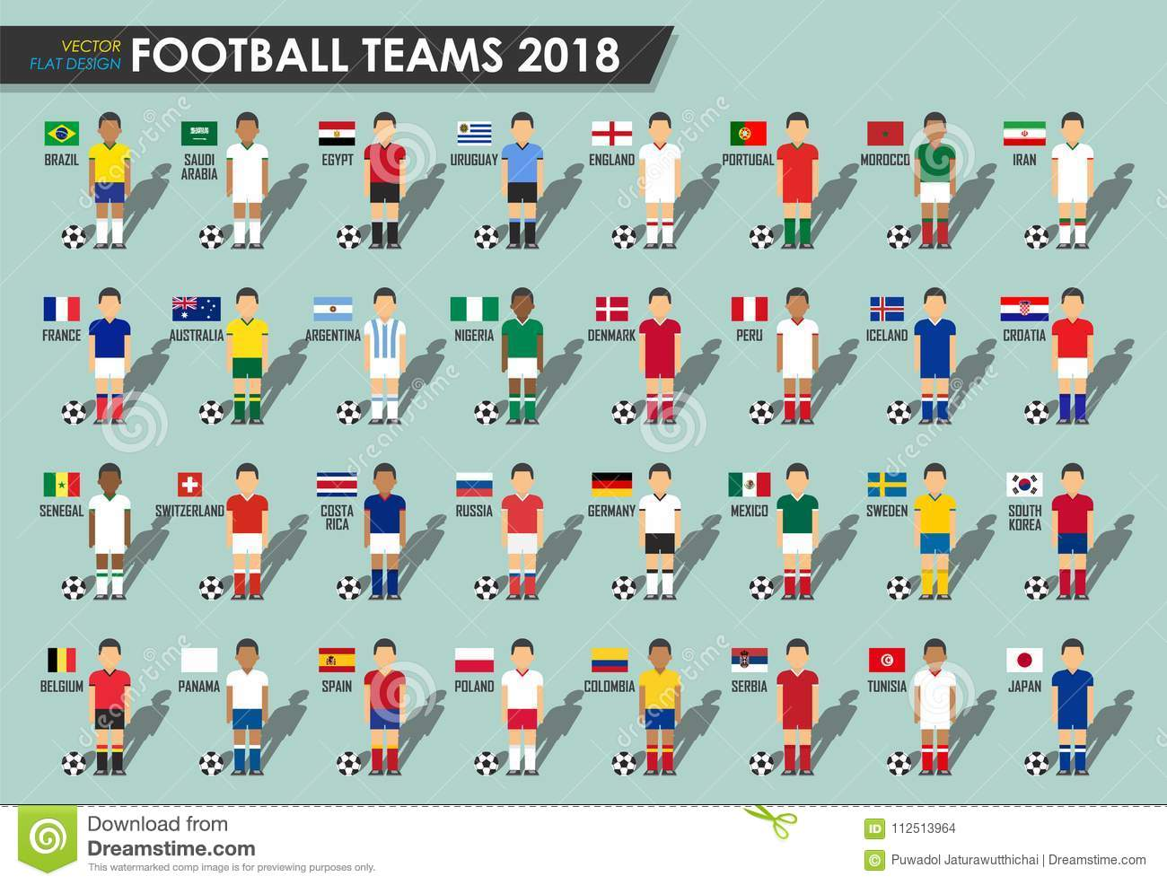 679cf32378f Set of Football players with jersey uniform and national flags . Vector for  international world championship tournament .