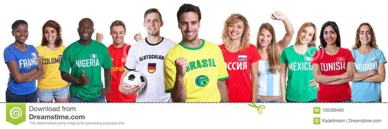 Soccer fan from Brazil with fans from other countries