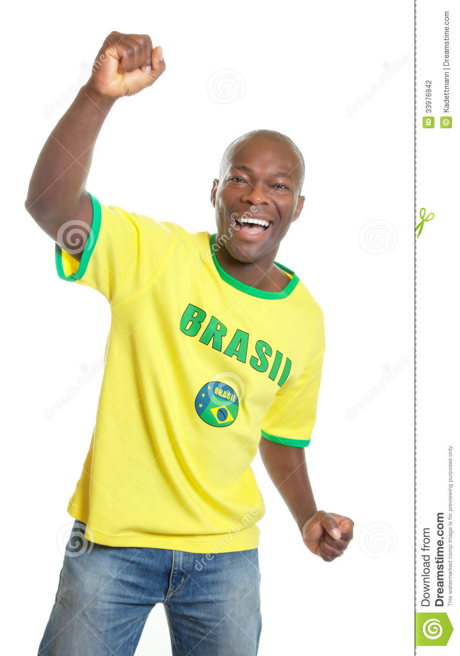 Soccer fan from Brazil is happy about the world cup 2014