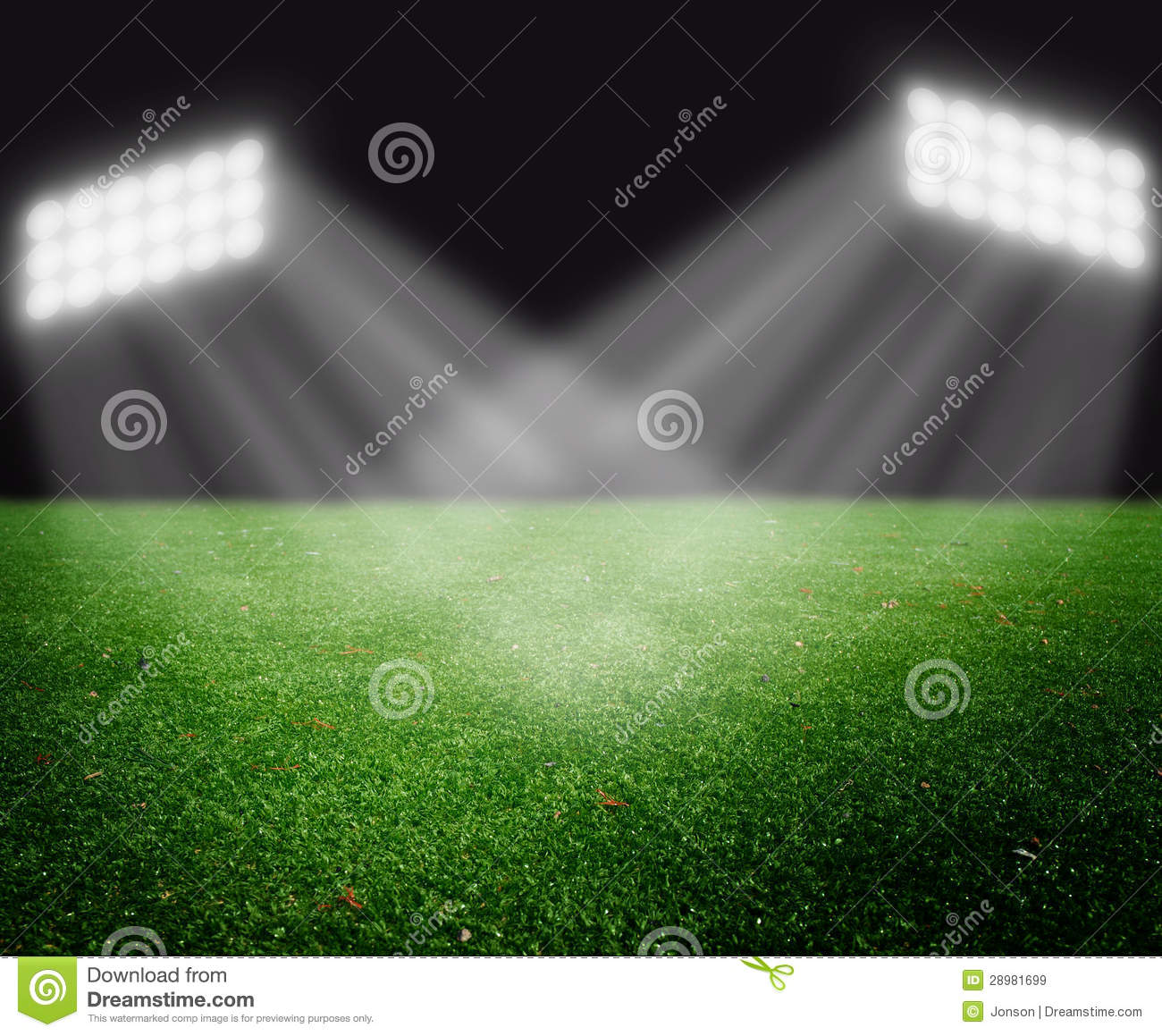 Football Stadium Lights End Table: Soccer Field With Bright Lights Stock Image