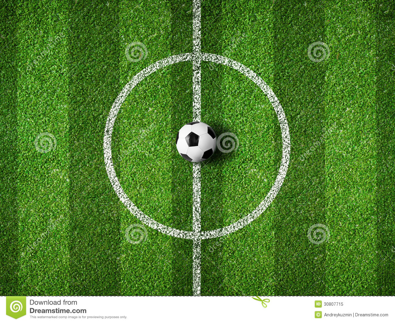 Soccer Field Center And Ball Top View Royalty Free Stock