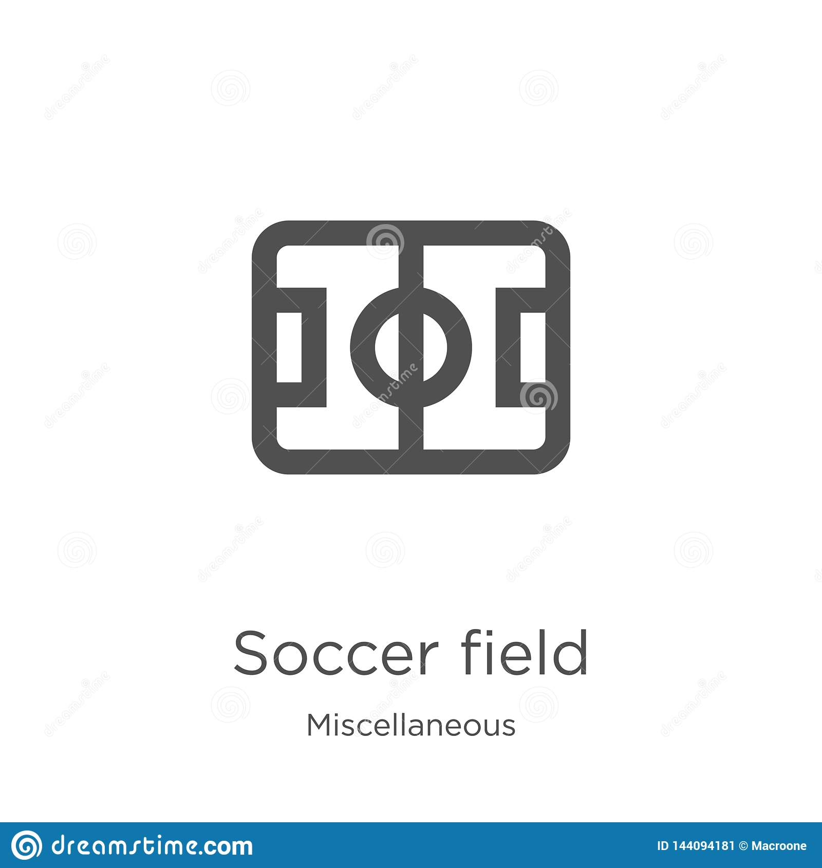 soccer field icon vector from miscellaneous collection. Thin line soccer field outline icon vector illustration. Outline, thin