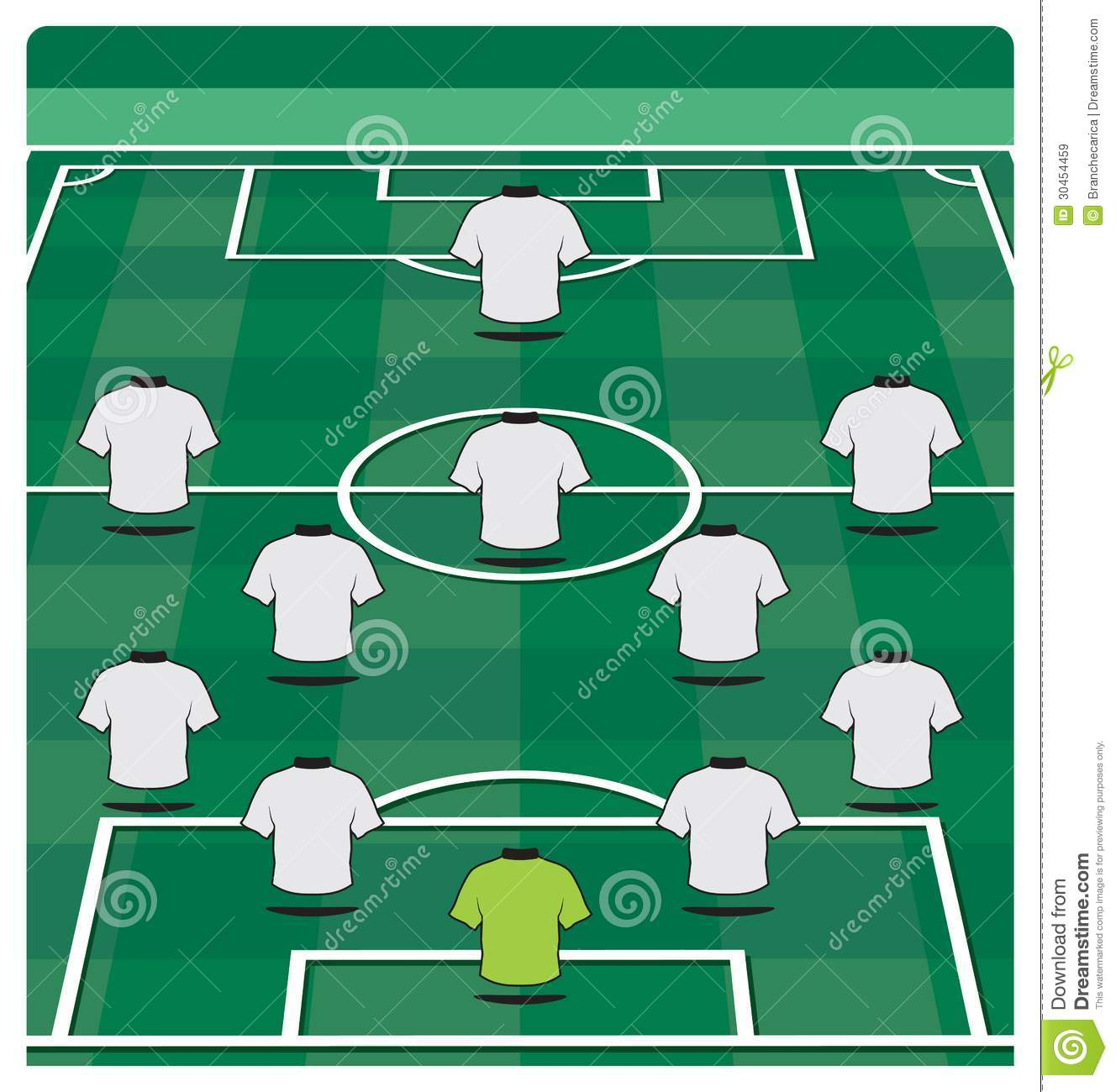 soccer field layout with formation stock vector illustration of