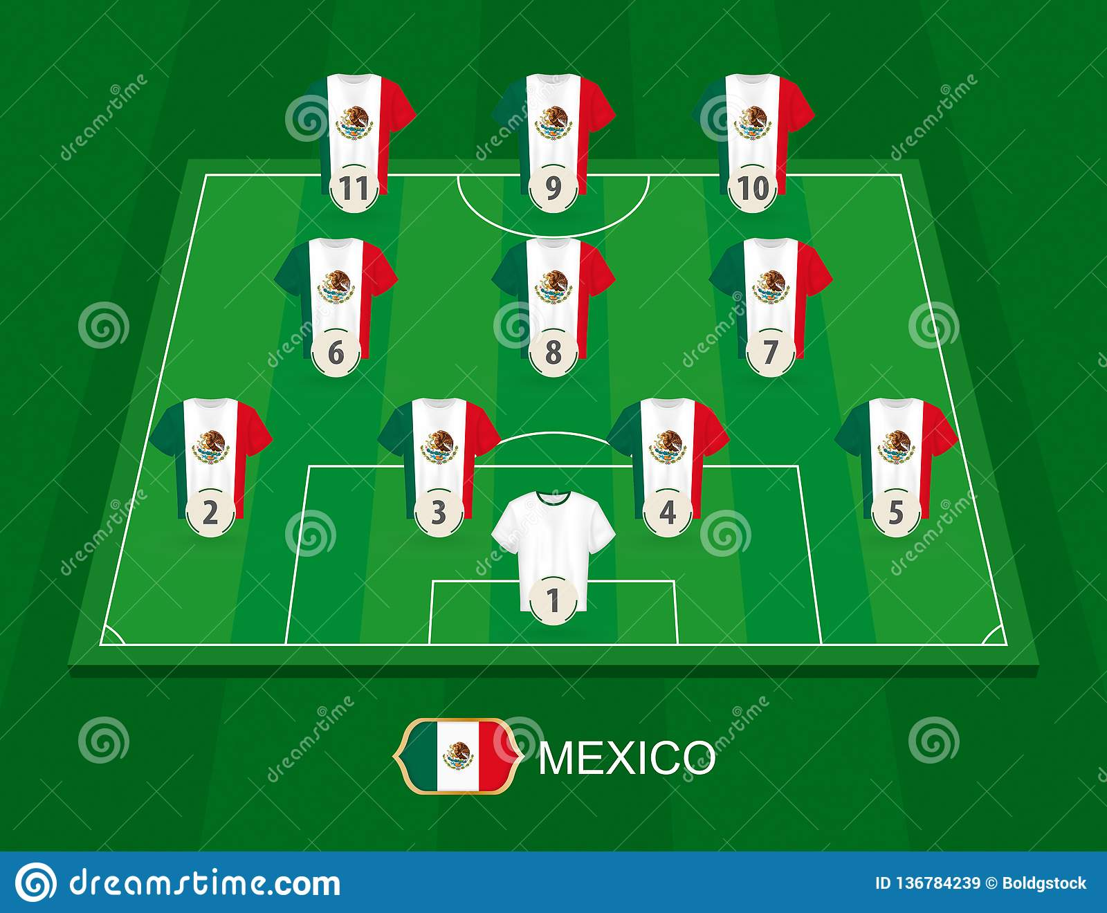 Soccer Field With The Mexico National Team Players Stock Vector