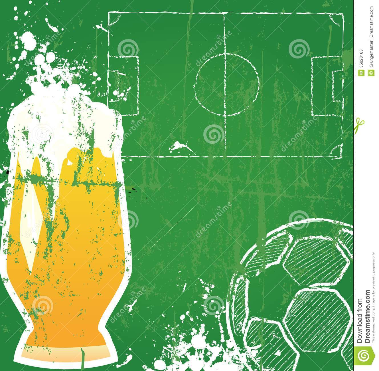 Soccer / Football and beer,free copy space, vector illustration.