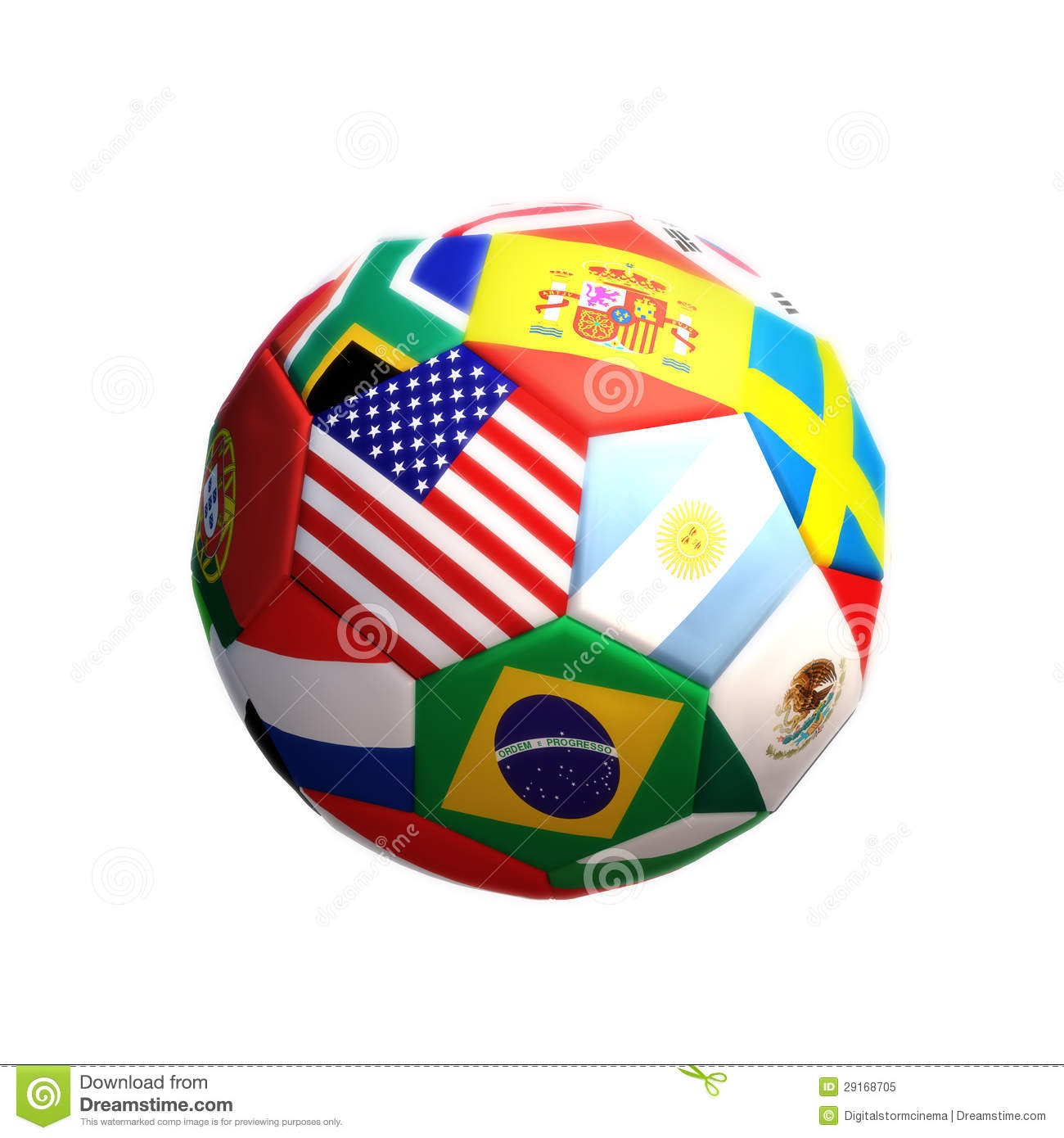 Royalty Free Stock Photo: Soccer or football with countries isolated