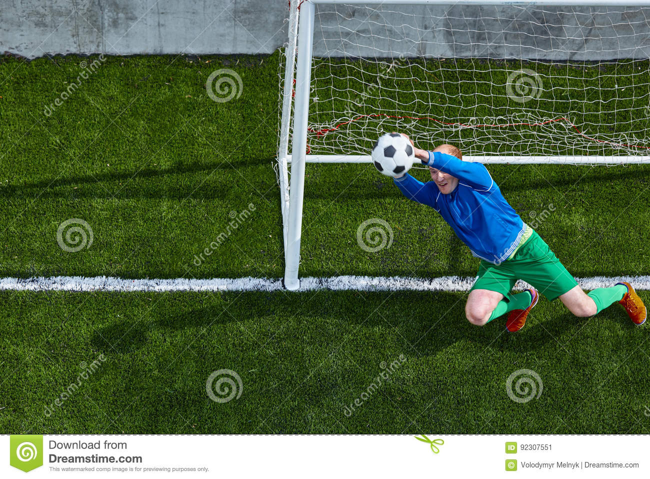 Download Soccer Football Goalkeeper Making Diving Save Stock Image - Image of goalie, grass: 92307551