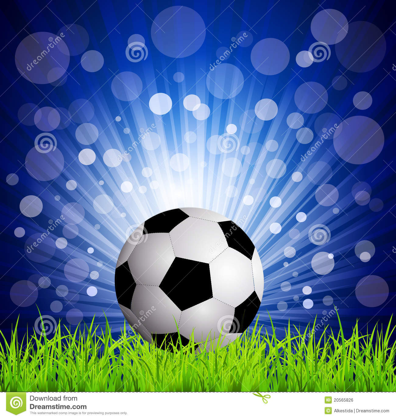 Soccer Football On Grass, On A Blue Background Royalty Free Stock ...