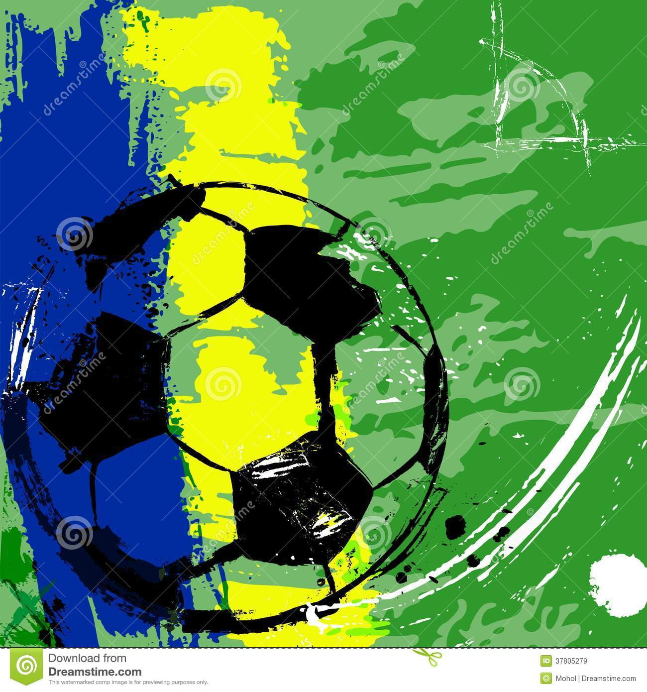 ... / football illustration, free copy space, with soccer ball, grungy