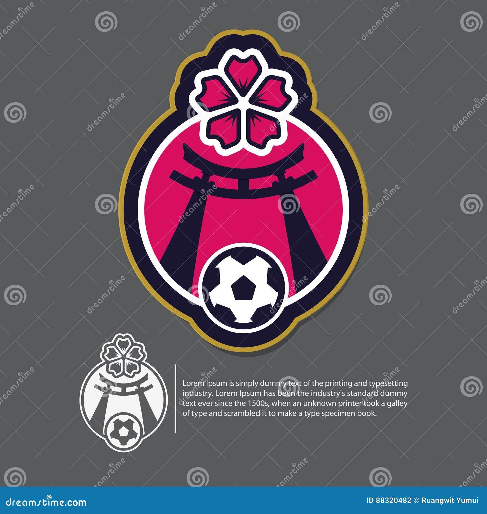c8c9b9290 Soccer or football logo design in Japan concept. Sport team identity  tempalt. Vector.