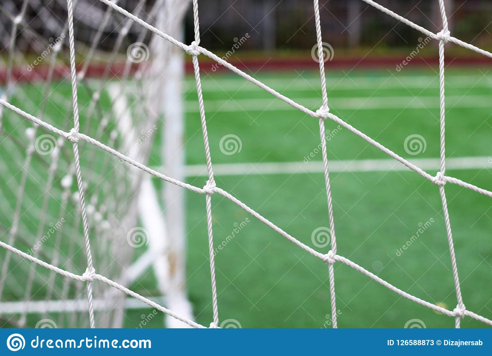 On The Stadium Abstract Football Or Soccer Backgrounds: Soccer Or Football Net Background, View From Behind The