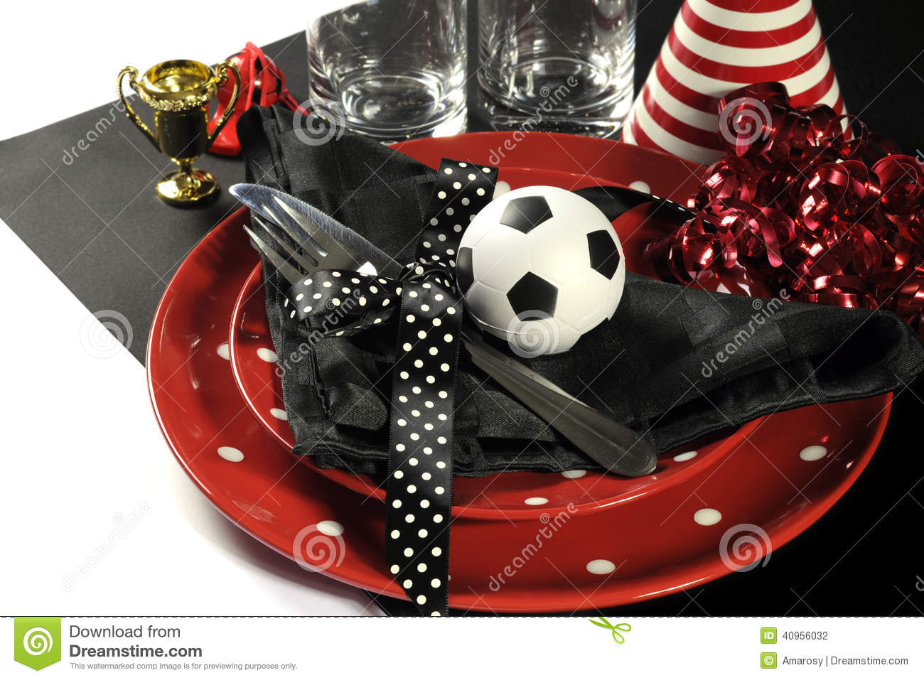 Soccer Football Party Table Red White And Black Team Colors. Stock ...