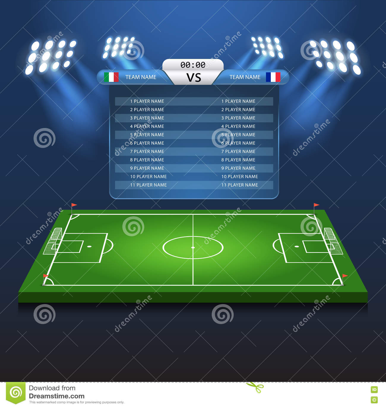 soccer football scoreboard flat isometric vector 3d stadium stock vector