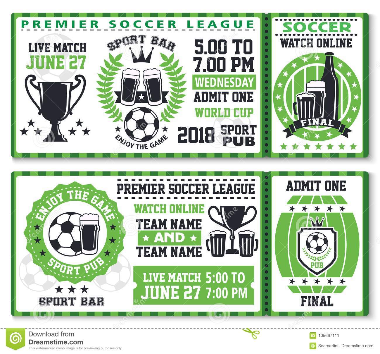 soccer or football sport game ticket template stock vector
