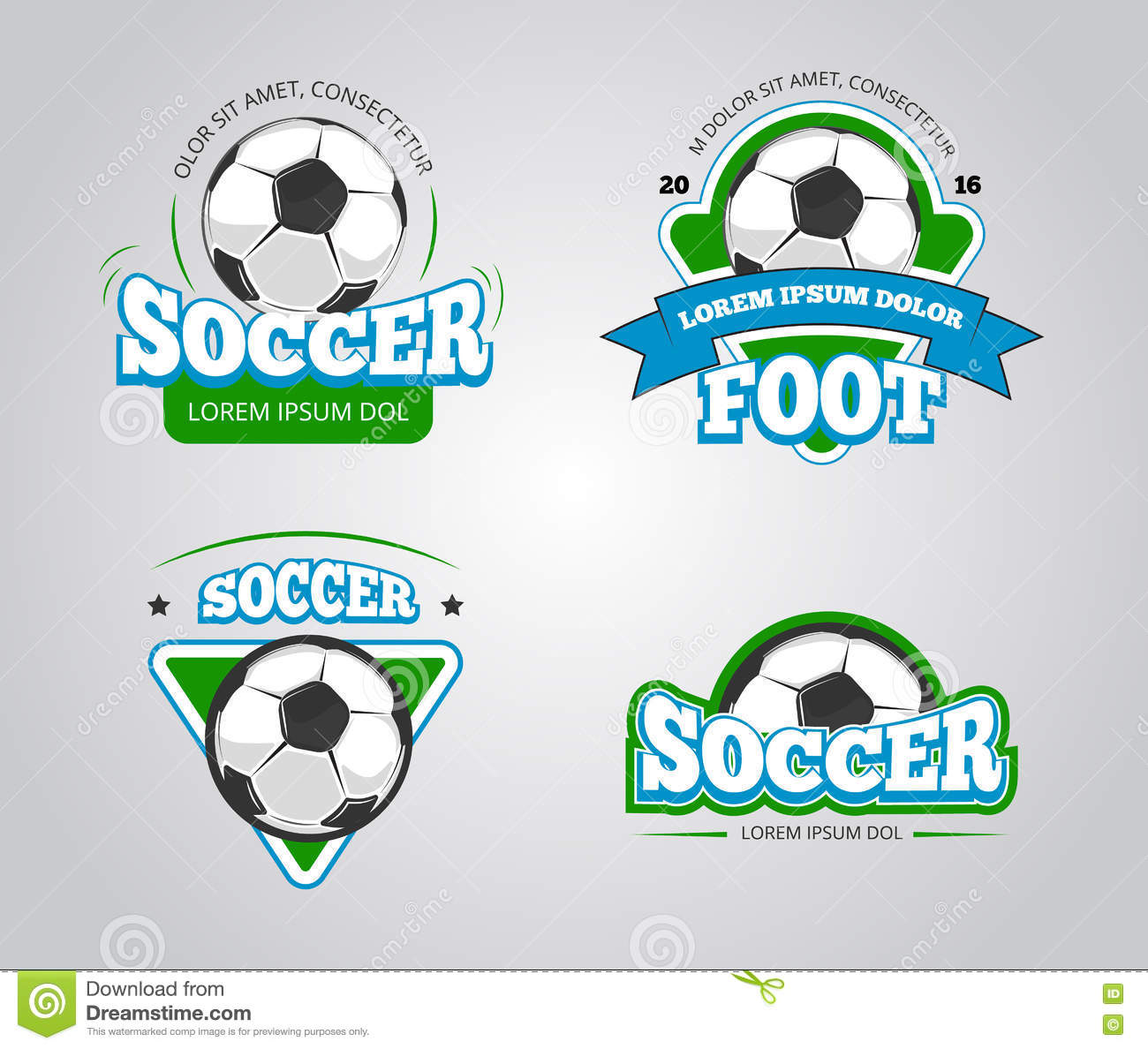 Soccer Football Vector Badges Logos T Shirt Design Templates Stock
