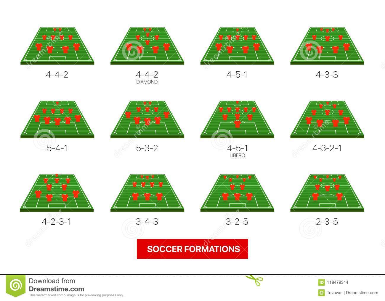 soccer formations vector collection isolated on white stock vector