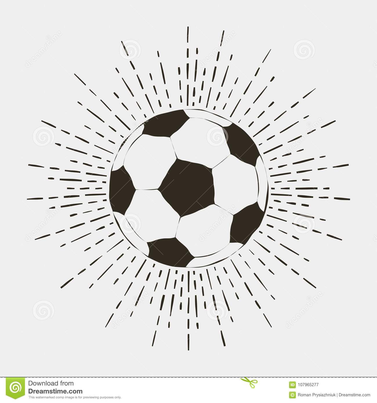 Soccer or futball ball print. Vintage typography with sunburst for t-shirt, apparel, poster, logo. Vector.