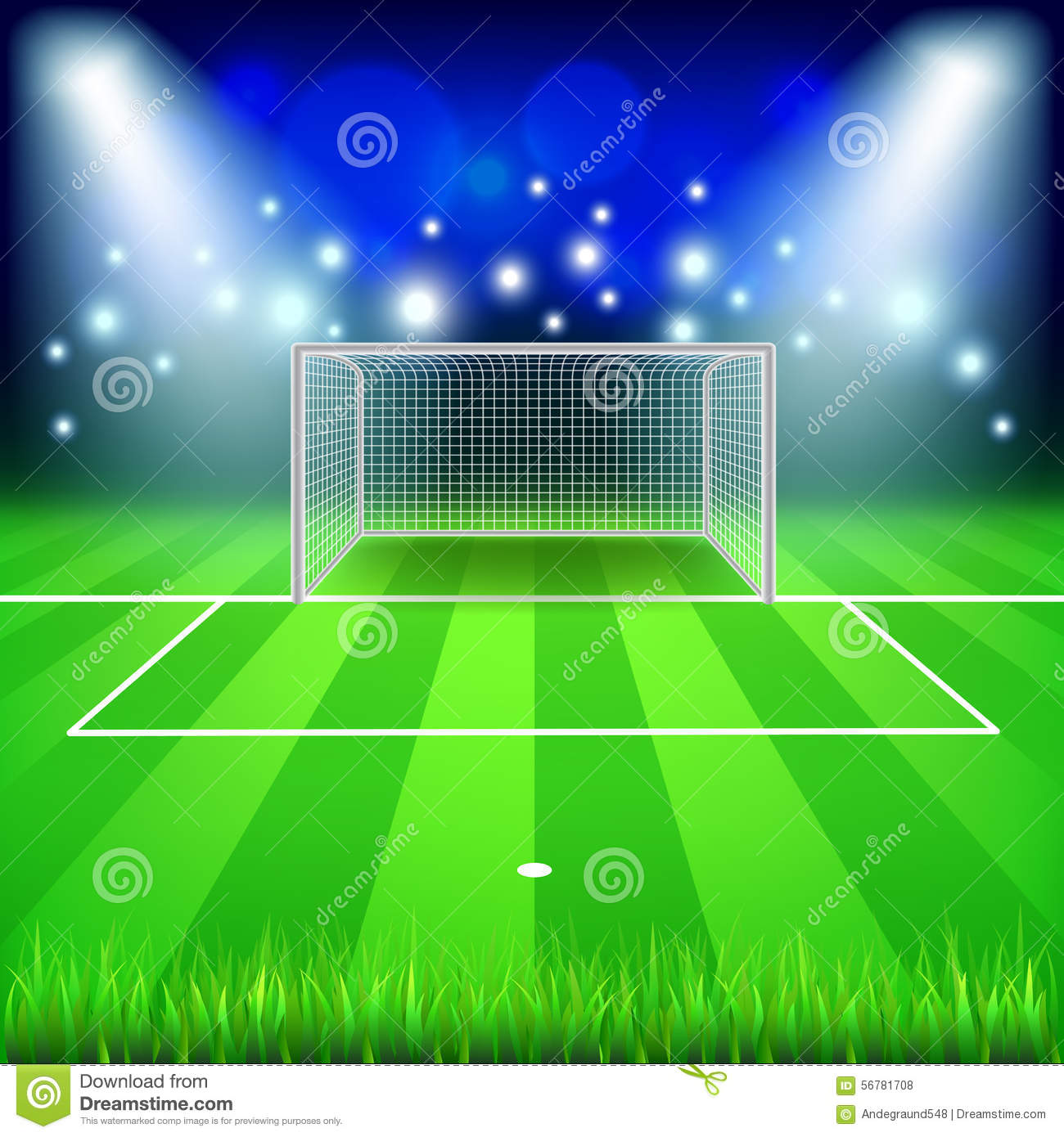 grass soccer field with goal. Soccer Goal On Field Vector Background Stock - Illustration Of Line, Leisure: 56781708 Grass With