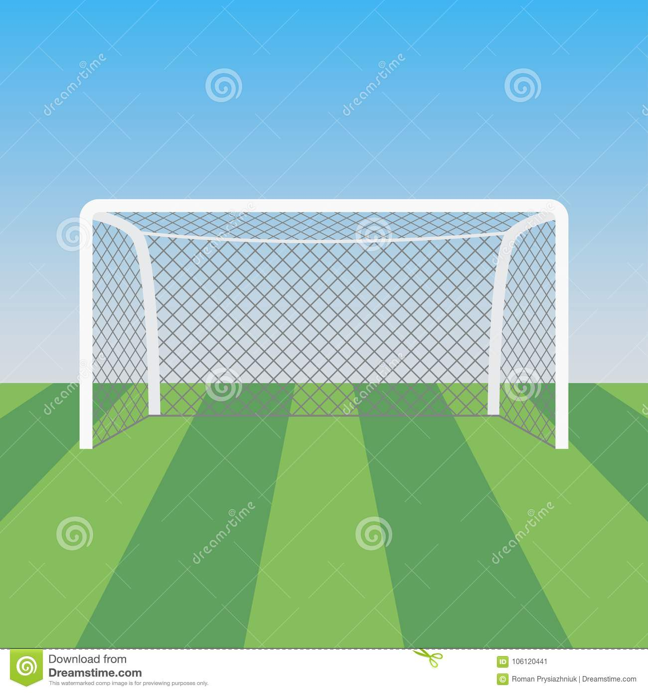 soccer goal and grass in the football stadium vector illustration