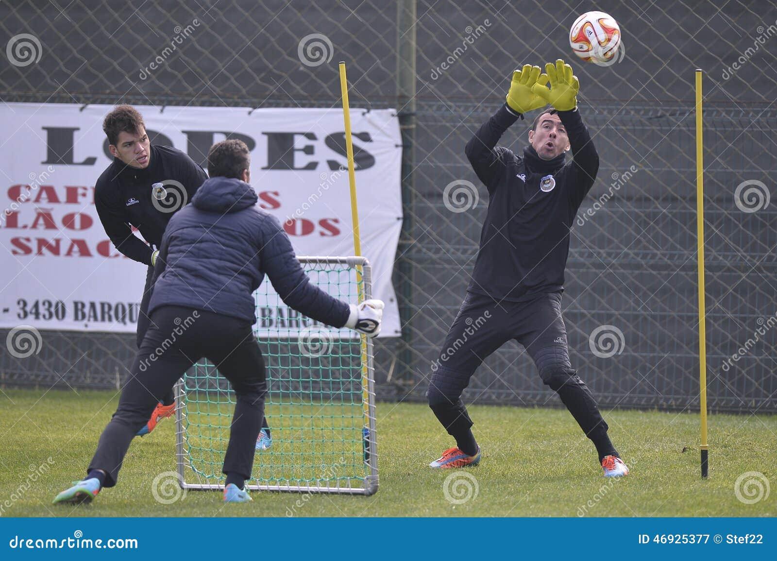 Soccer goalkeeper training session