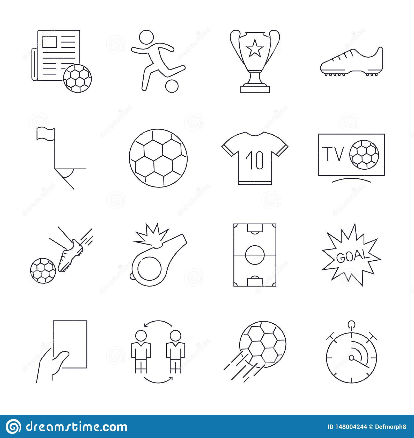 Soccer Icons set. Editable Stroke