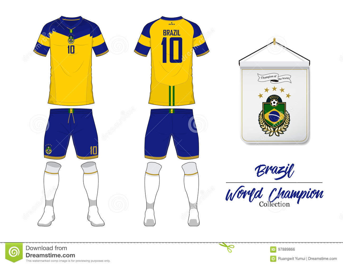 5b4d908e9 Soccer jersey or football kit. Brazil football national team. Football logo  with house flag. Front and rear view soccer uniform.