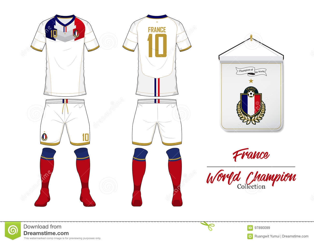 e24cc48e1 Soccer jersey or football kit. France football national team. Football logo  with house flag. Front and rear view soccer uniform.
