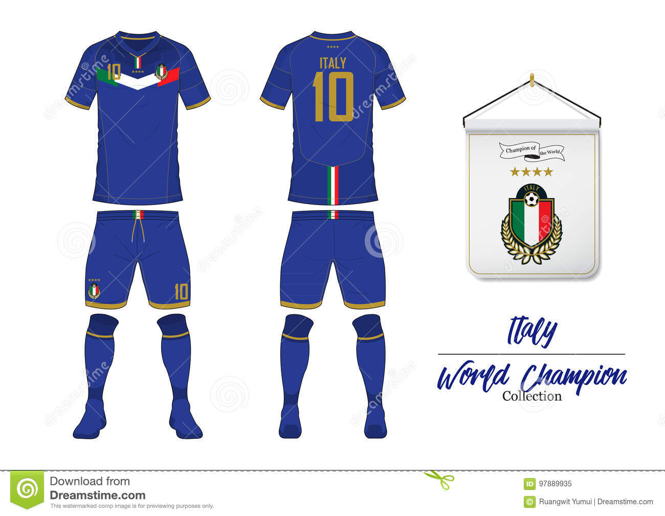e50dc76d273 Soccer jersey or football kit. Italy football national team. Football logo  with house flag. Front and rear view soccer uniform.