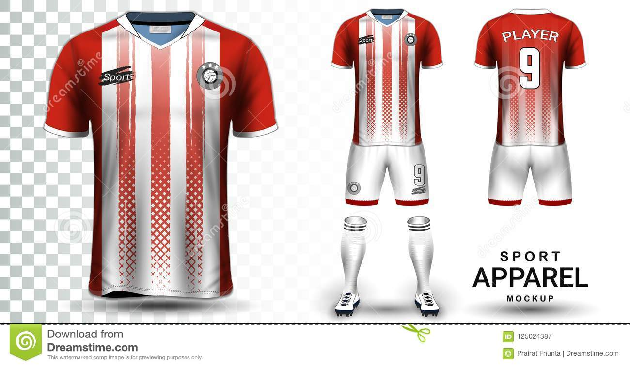 Soccer Jersey And Football Kit Presentation Mockup Template Front Back View Including Sportswear Uniform Shorts Socks It Is Fully