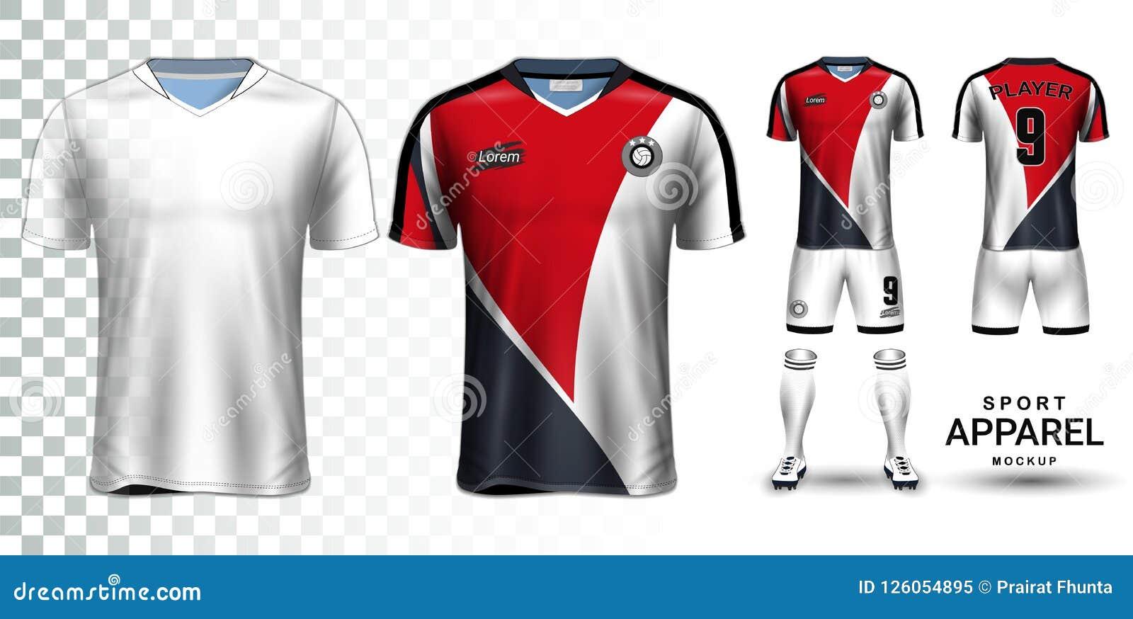 b759ef890 Soccer Jersey And Football Kit Presentation Mockup Template Stock ...
