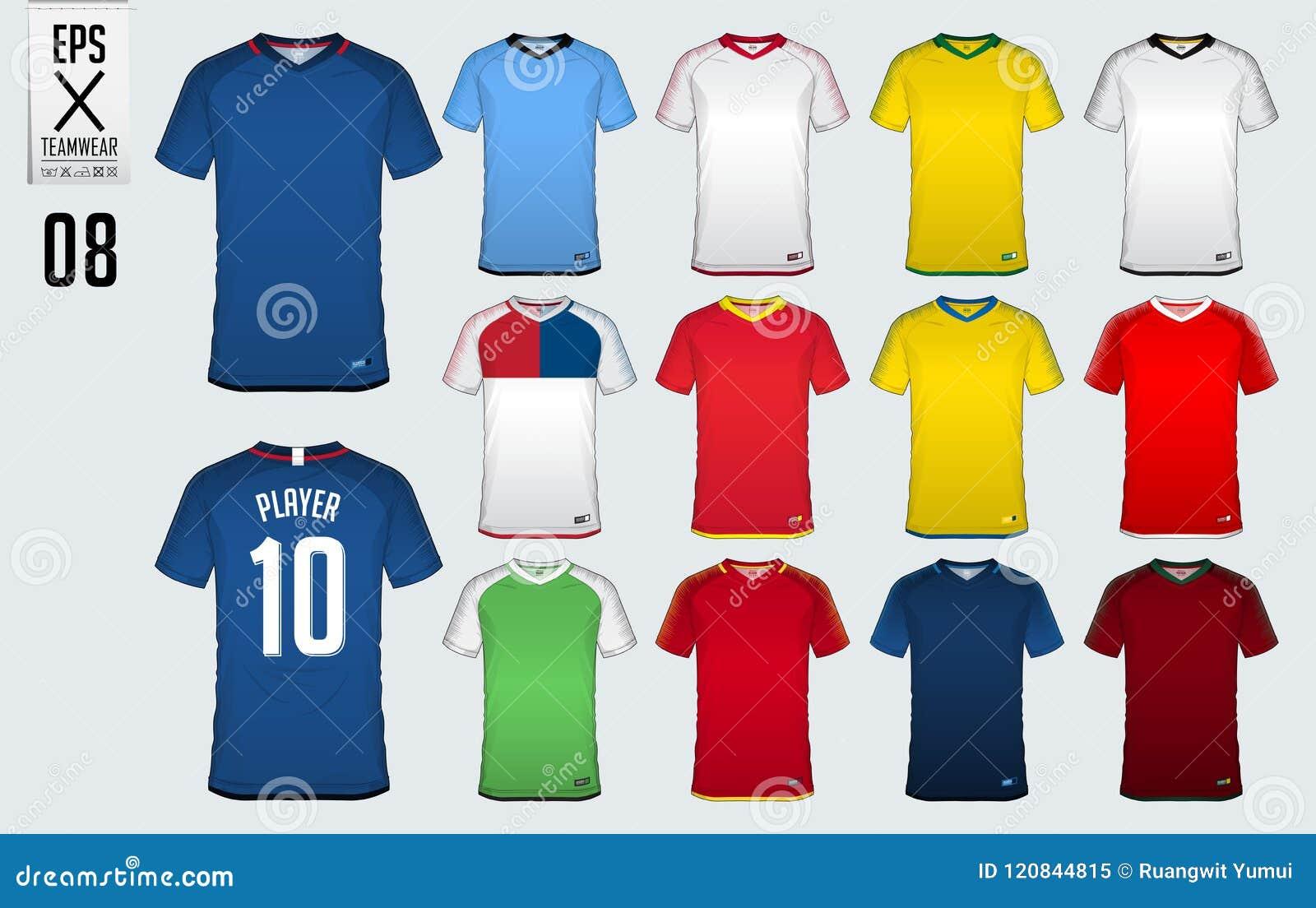 53bca9c1f Soccer jersey, football kit, t-shirt sport template design for sport club. Football  t-shirt mock up.