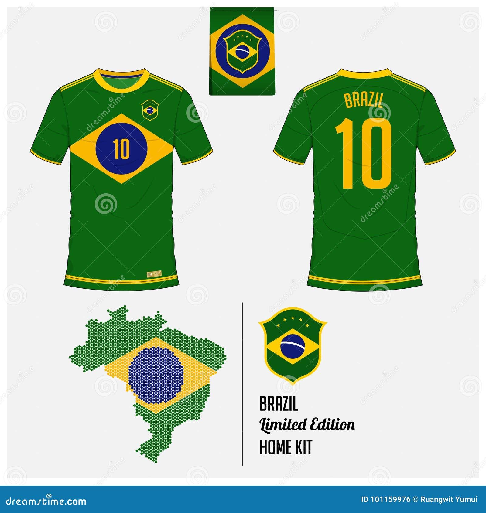 7258df7b366 Soccer jersey or football kit, template for Brazil National Football Team.  Flat football logo on Brazil flag label.