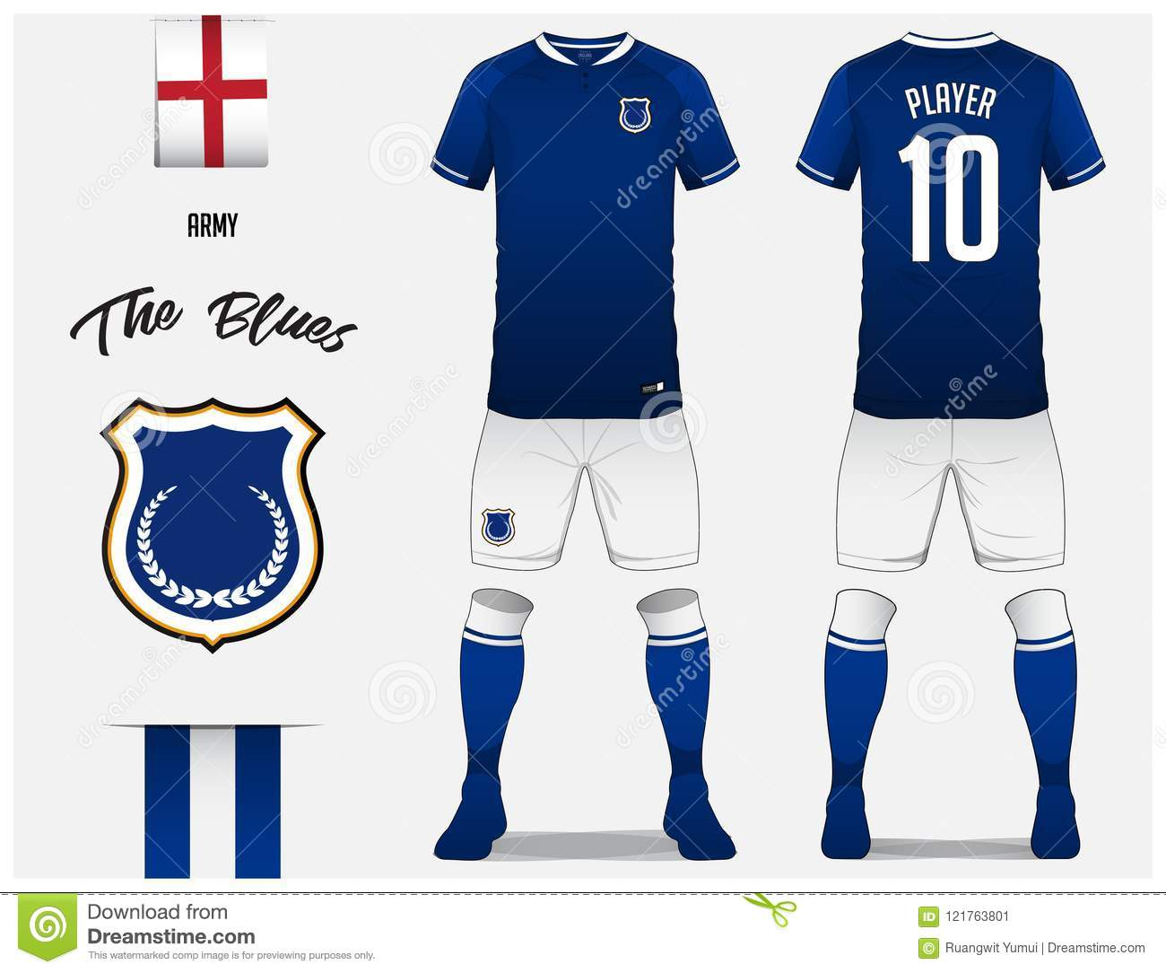 Soccer Jersey Or Football Kit Template For Club Blue Shirt With Sock And