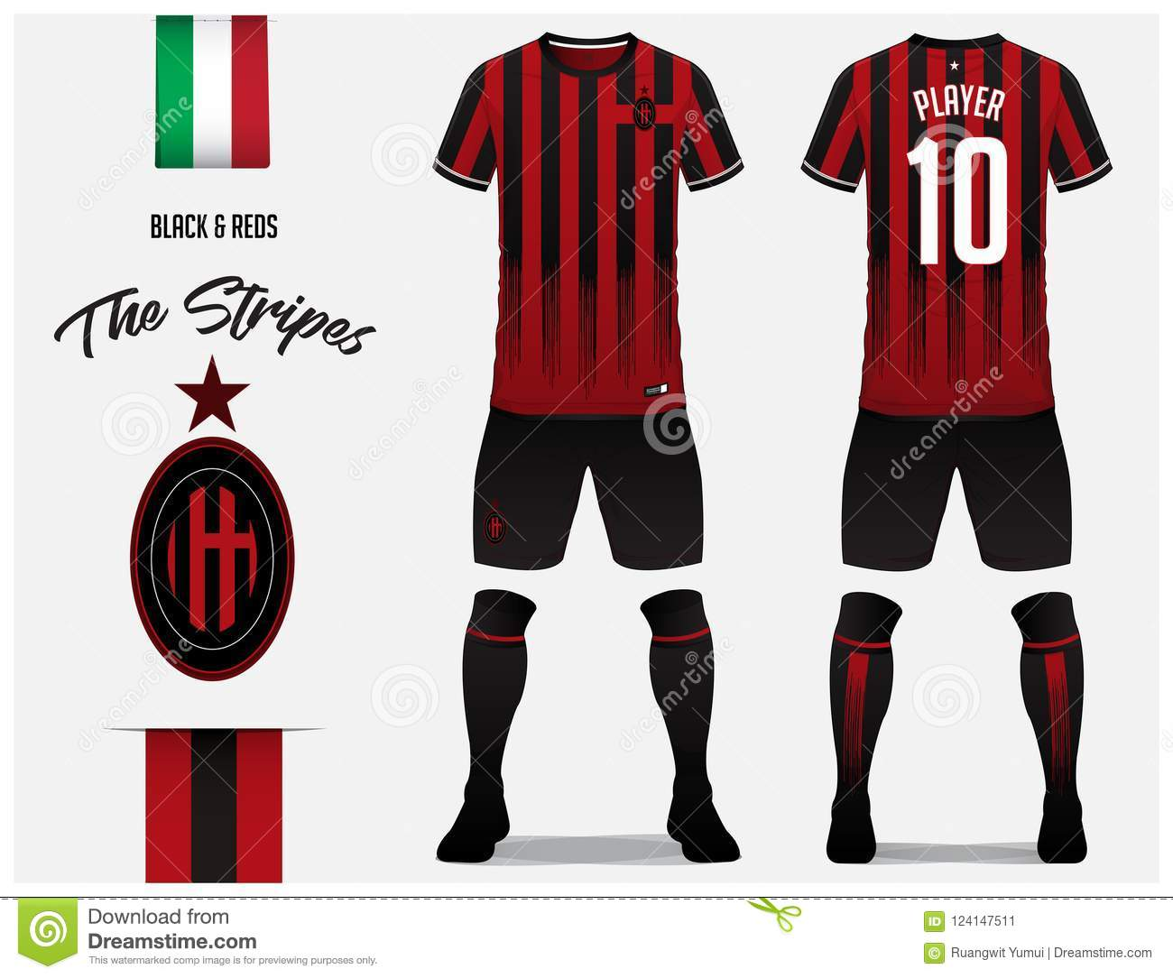 f0a6a8e90 Soccer jersey or football kit template for football club. Red and black  stripe football shirt with sock and black pants mock up.