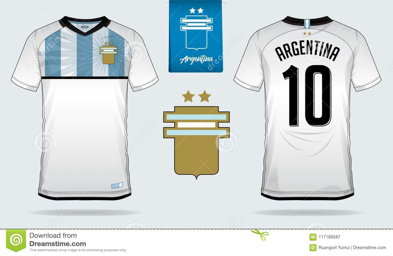 4b96225b1 Soccer jersey or football kit template design for Argentina national football  team. Front and back view soccer uniform. Royalty-Free Vector