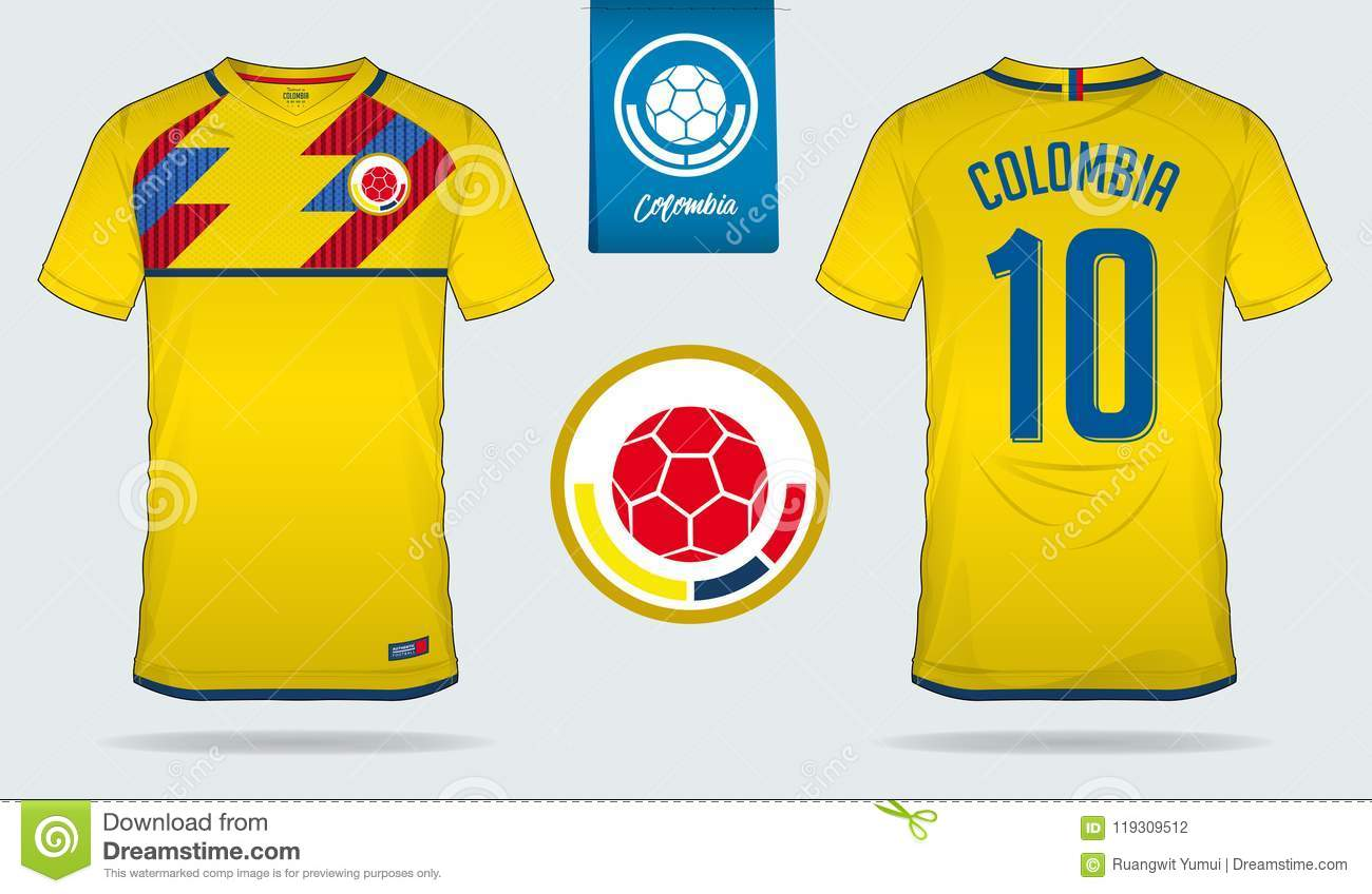 Soccer jersey or football kit template design for Colombia national football  team. Front and back view soccer uniform. Royalty-Free Vector abe08402d