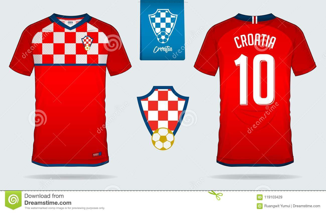 de2b1431f1f Soccer jersey or football kit template design for Croatia national football  team. Front and back view soccer uniform.