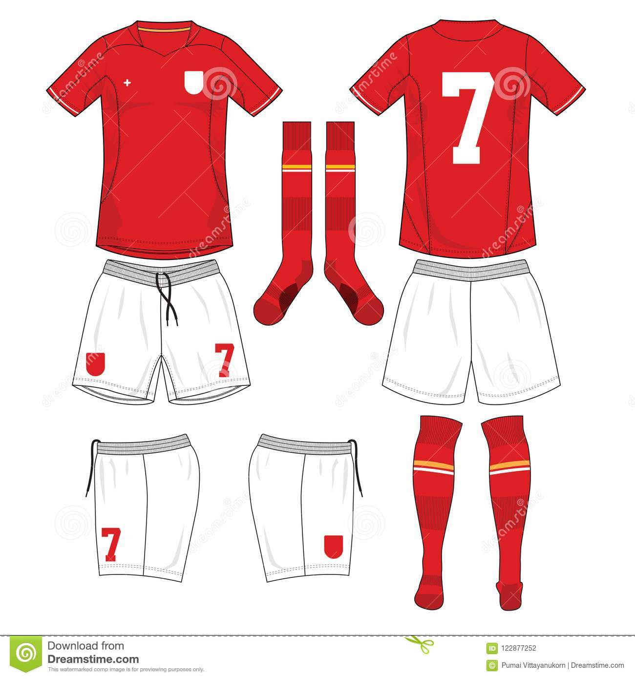 ae654fd15 Soccer jersey or football kit template design for football team. Front and  back view soccer uniform. Football t shirt with sock and short mock up.