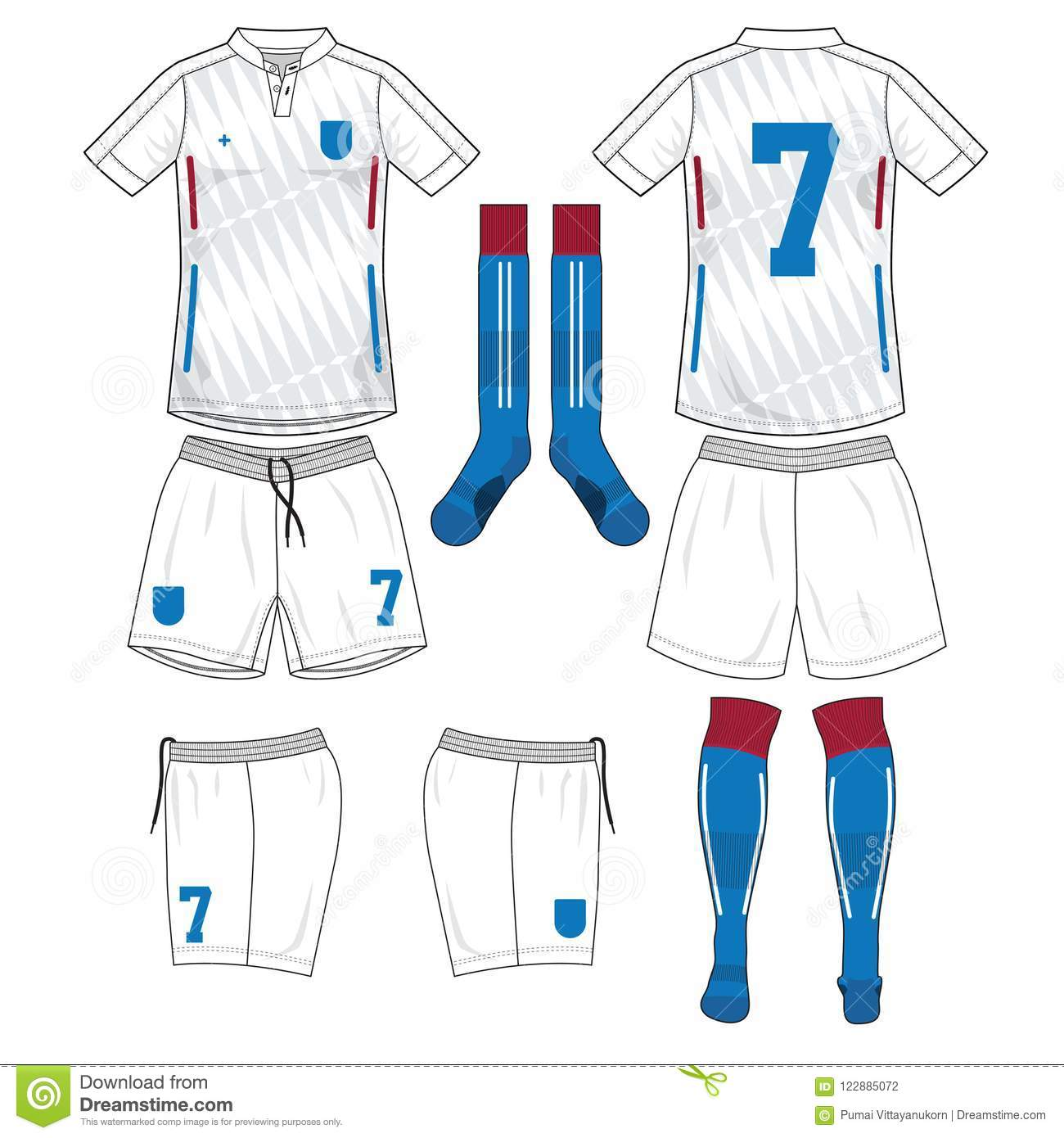 5ddf7684a Soccer jersey or football kit template design for football team. Front and  back view soccer uniform. Football t shirt with sock and short mock up.