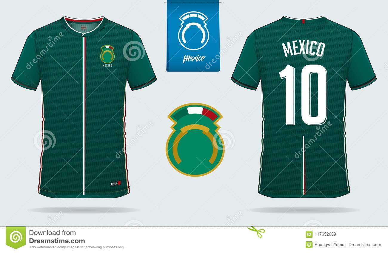8317bca42fd Soccer jersey or football kit template design for Mexico national football  team. Front and back view soccer uniform. Royalty-Free Vector