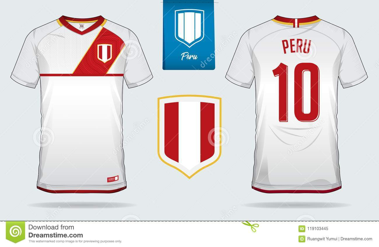 39232f6e6 Soccer jersey or football kit template design for Peru national football  team. Front and back view soccer uniform.